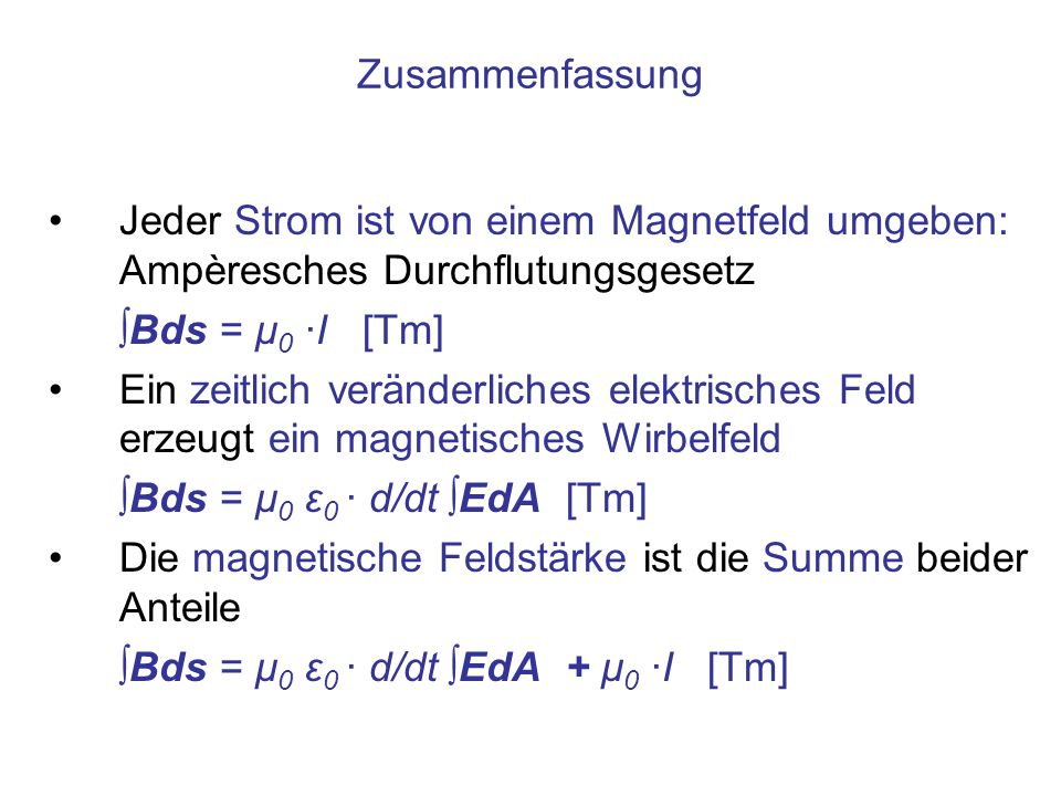 Zusammenfassung Jeder Strom ist von einem Magnetfeld umgeben: Ampèresches Durchflutungsgesetz. ∫Bds = μ0 ·I [Tm]